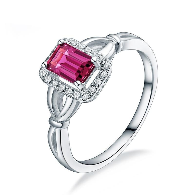 0.60 Ct pure Tourmaline prong-setting ring with 14k white gold & diamond