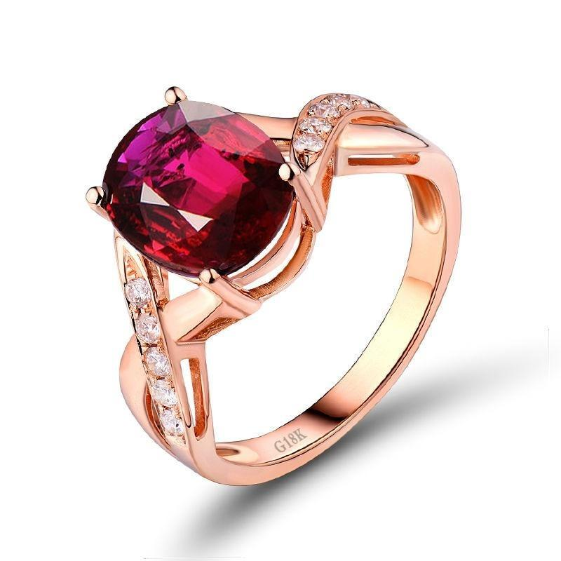 3.2 Ct pure Tourmaline prong-setting ring with 18k rose gold & diamond