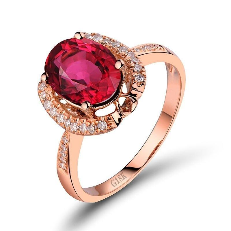 1.59 Ct pure Tourmaline prong-setting ring with 18k rose gold & diamond