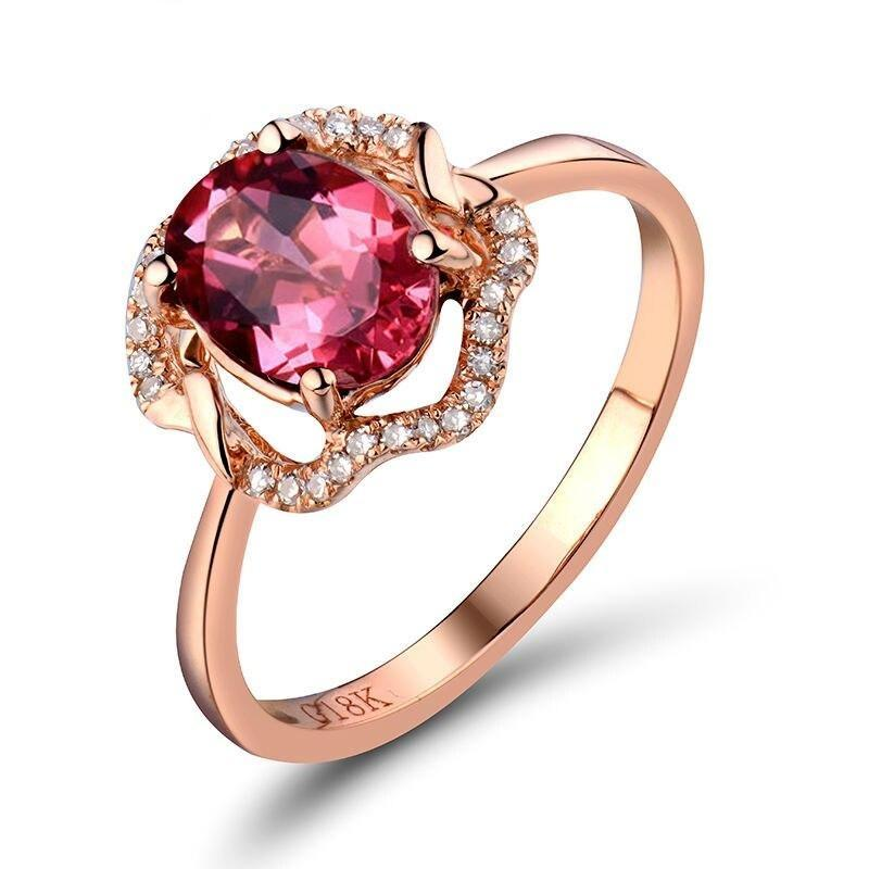 1.28 Ct pure Tourmaline prong-setting ring with 18k rose gold & diamond