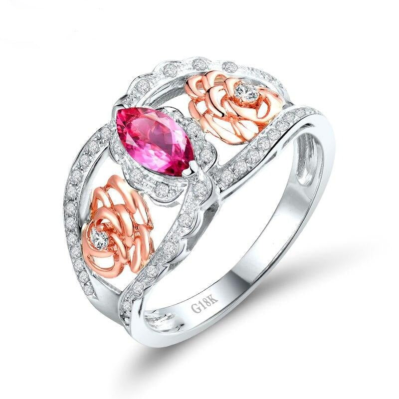 0.36 Ct pure pink Tourmaline prong-setting ring with 18k rose/White gold & diamond