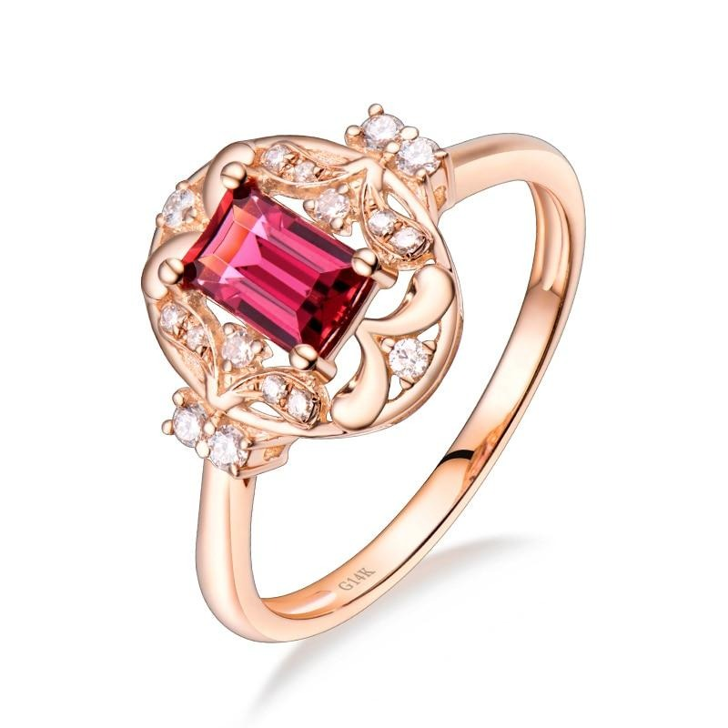 0.57 Ct pure Tourmaline prong-setting ring with 14k rose gold & diamond