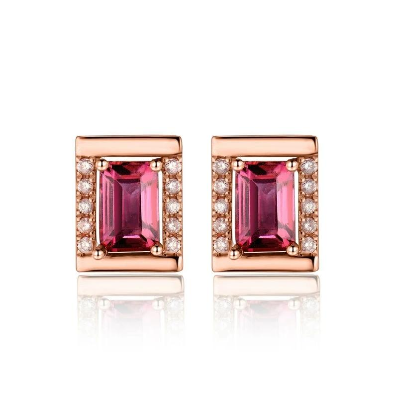 Alluring 1.4 red Tourmaline stud-earrings with 18k rose gold