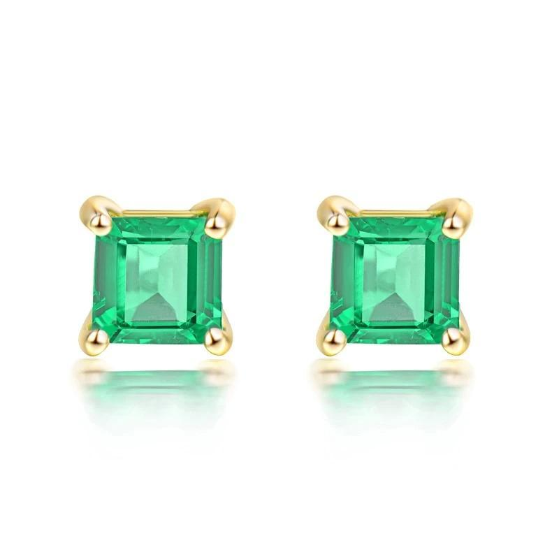 0.7 Ct deep green Emerald stud-earrings with 18k yellow gold