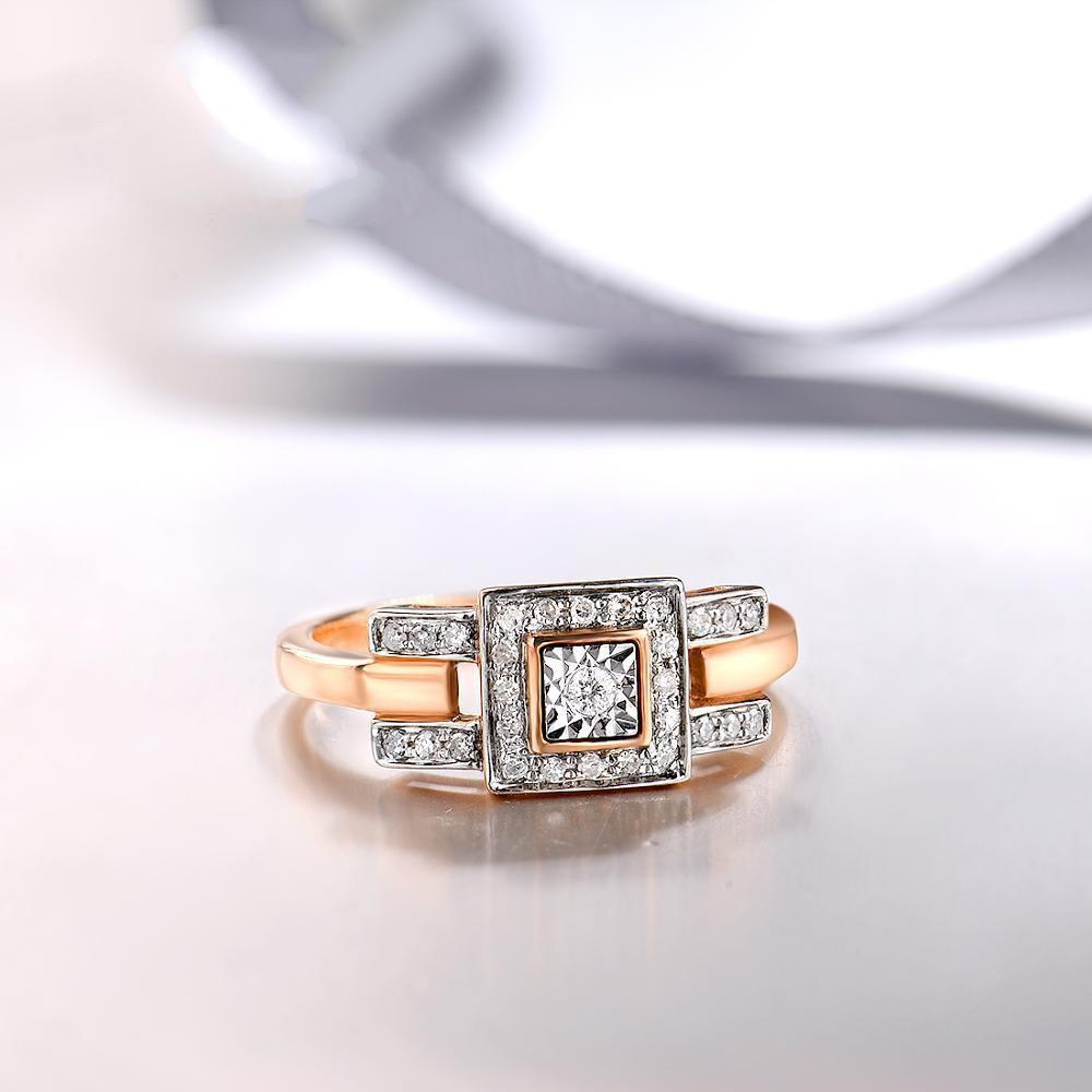 Elegant 14k rose gold bezel-setting ring with sparkling diamond