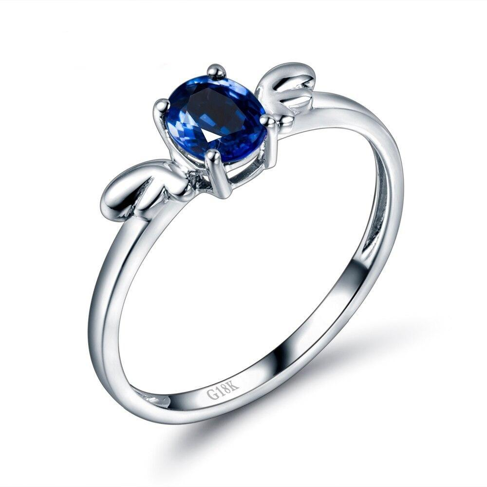 0.7 Ct deep blue Sapphire prong-setting ring with 14k white gold