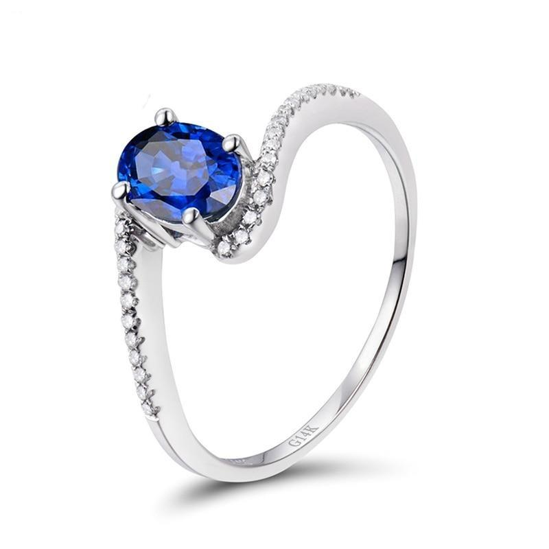 1.03 Ct deep blue Sapphire prong-setting ring with 14k white gold & diamond