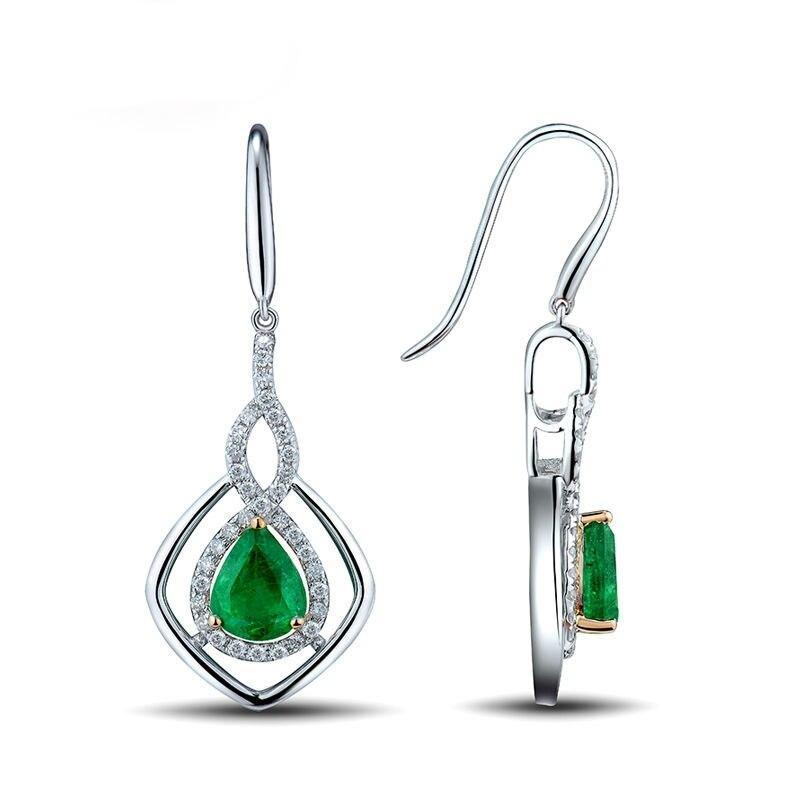 2.31 Ct deep green Emerald fish hook-earrings with 14k white gold & diamond