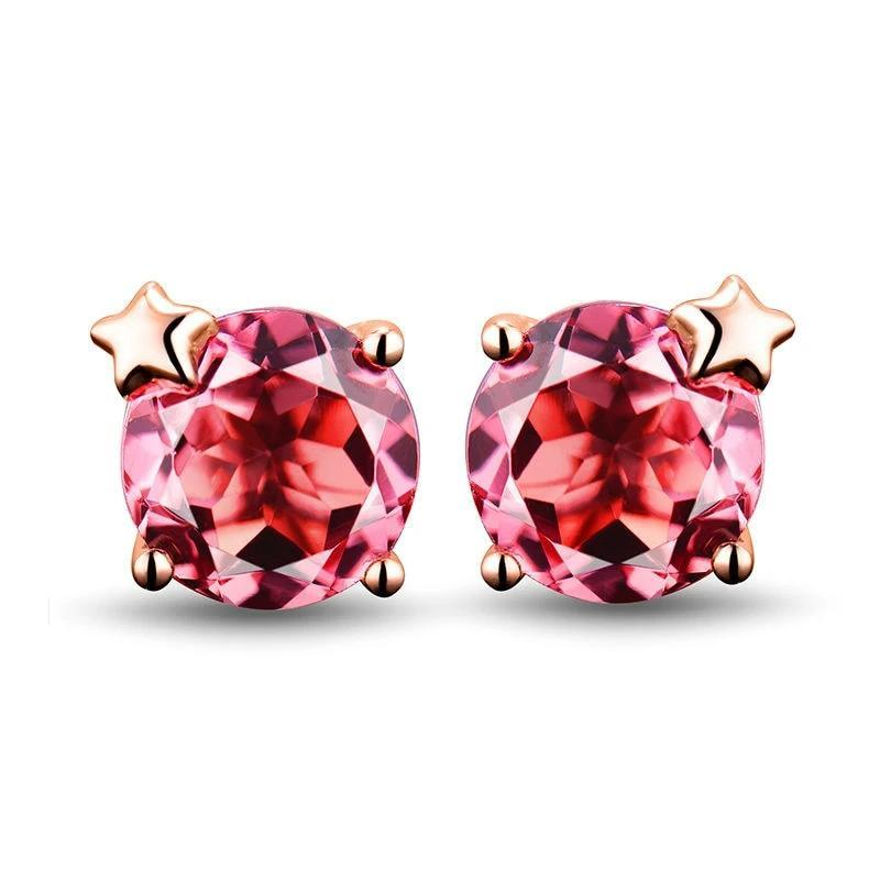 Alluring 1.56 red Tourmaline stud-earrings with 18k rose gold