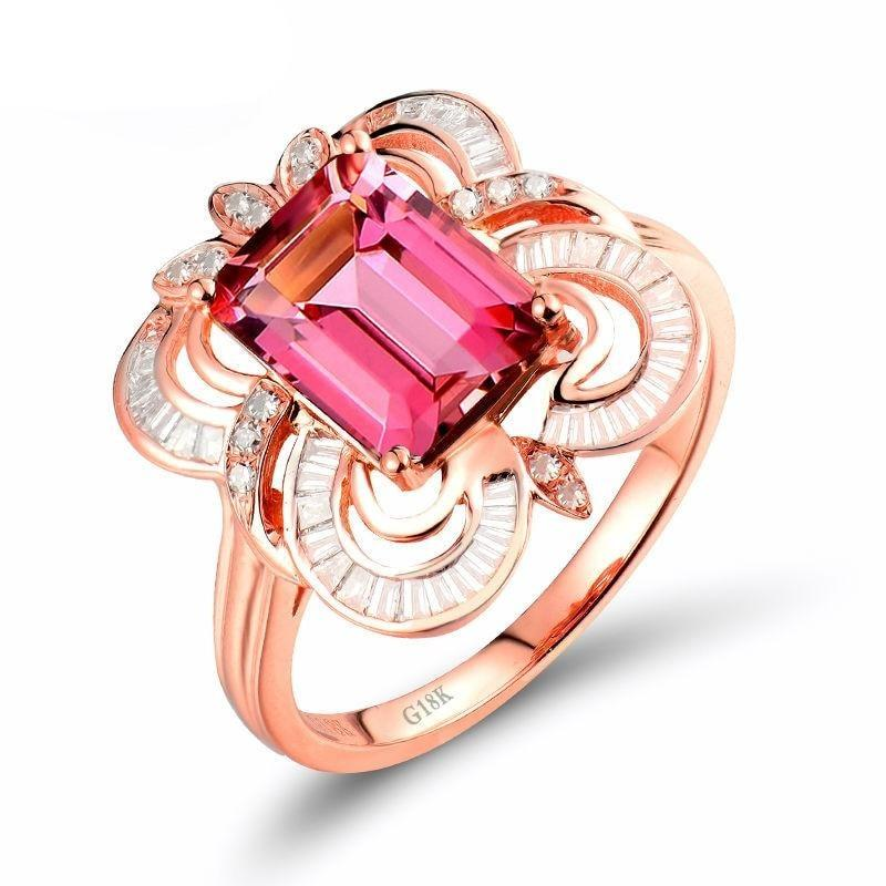 2.1 Ct pure Tourmaline prong-setting ring with 18k rose gold & diamond