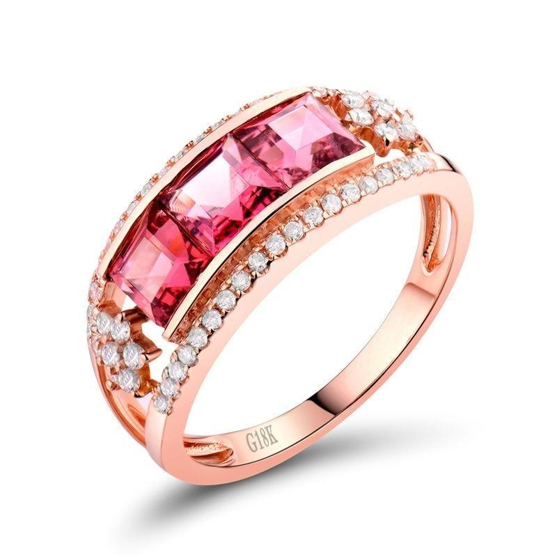 1.15 Ct pure Tourmaline band-setting ring with 18k rose gold & diamond