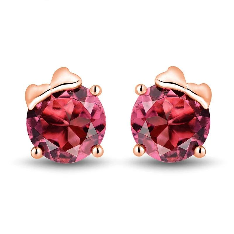 Alluring 1.63 red Tourmaline stud-earrings with 18k rose gold