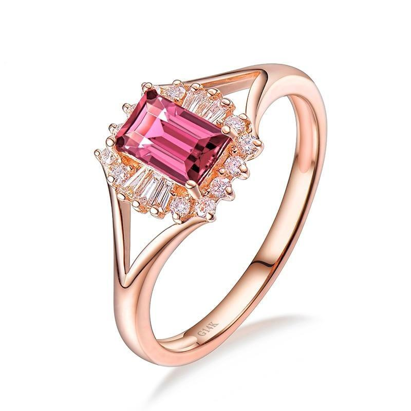 0.68 Ct pure Tourmaline prong-setting ring with 14k rose gold & diamond