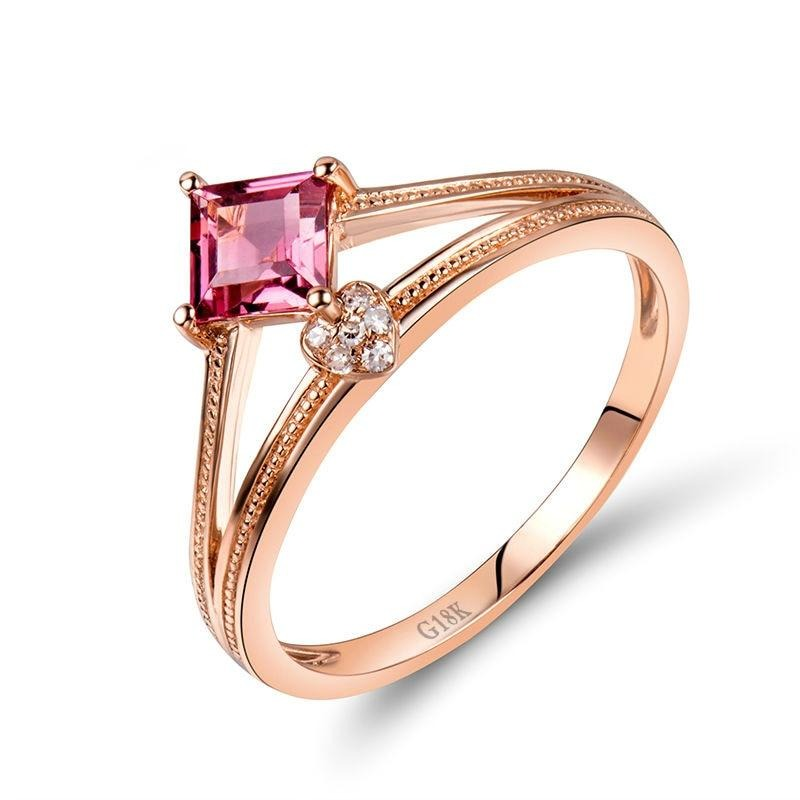 0.49 Ct pure pink Tourmaline prong-setting ring with 14k rose gold & diamond