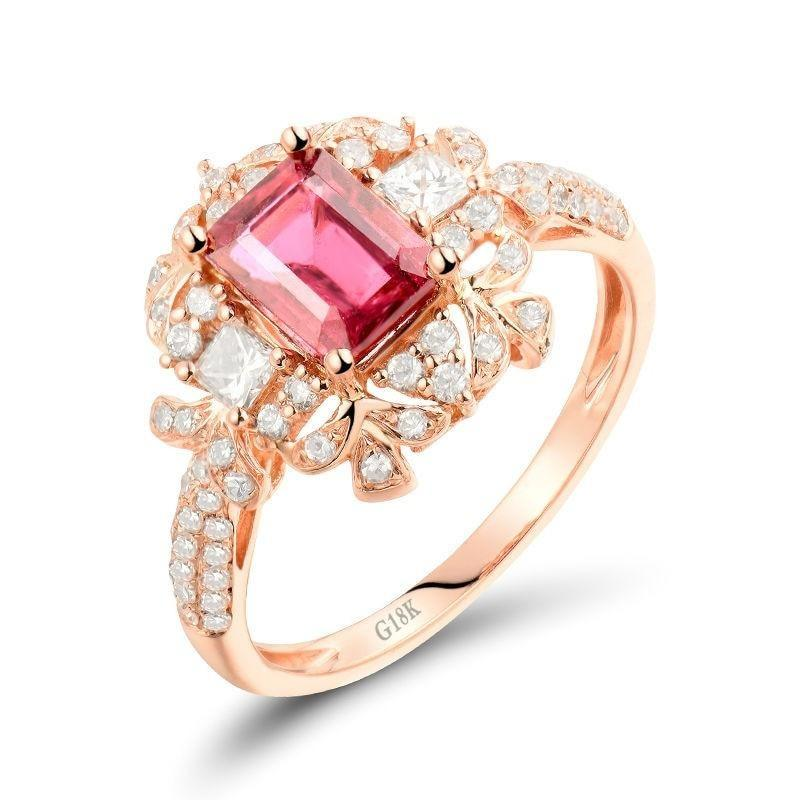 1.2 Ct pure Tourmaline prong-setting ring with 18k rose gold & diamond