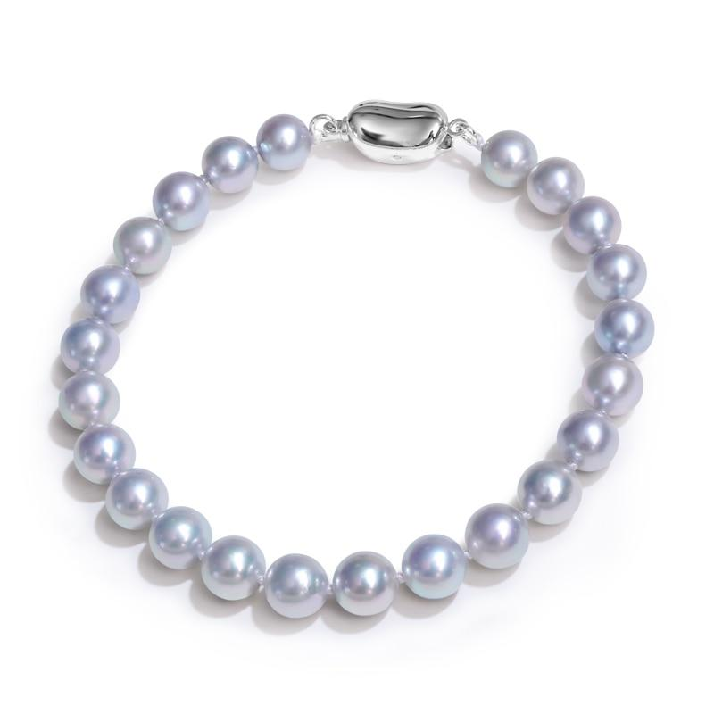 Hanadama 6-9 mm Akoya cultured pearl link bracelet with 925 sterling silver clasp