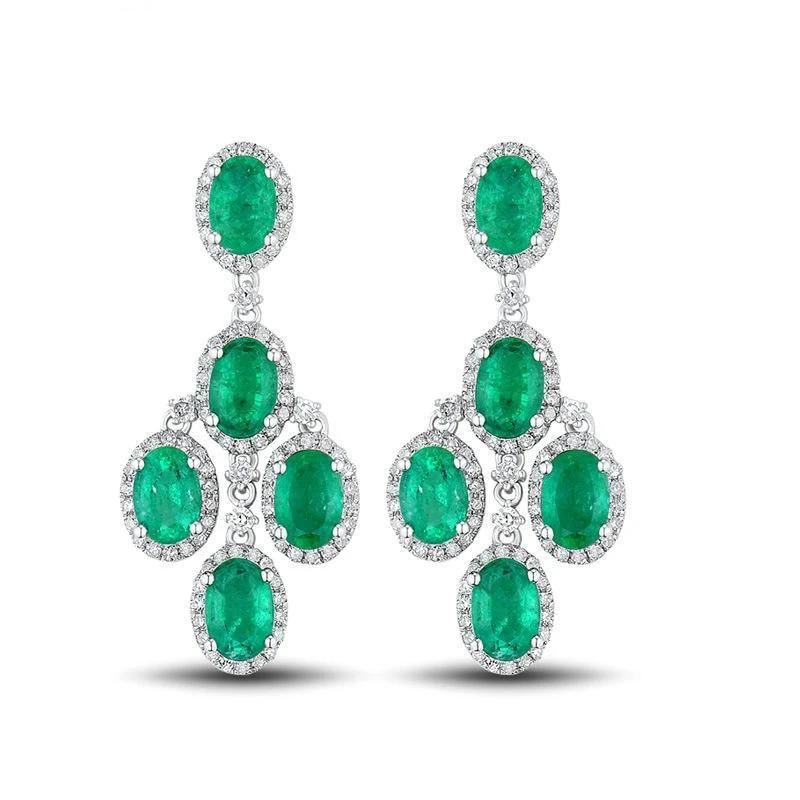 4.48 Ct deep green Emerald drop-earrings with 14k white gold & diamond