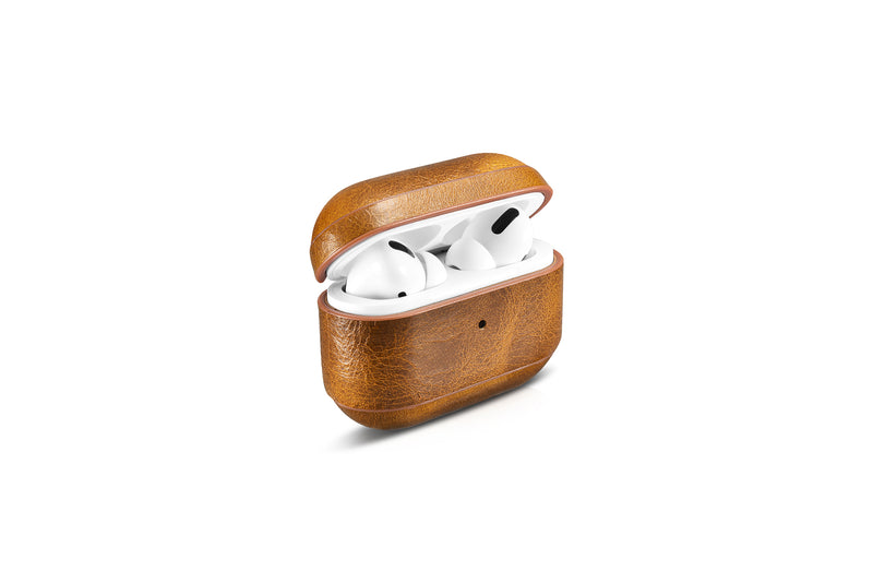 Custom AirPods Pro Waxed Cowhide Brown Leather Case with Metal Clip