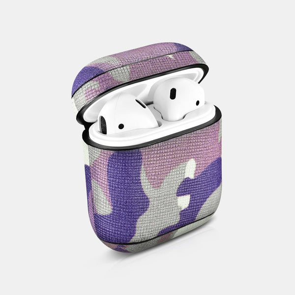 Camo Purple Premium Leather AirPods 1 & 2 Case