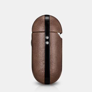 Brown Genuine Leather AirPods 2 Case with Color Embossing Personalization