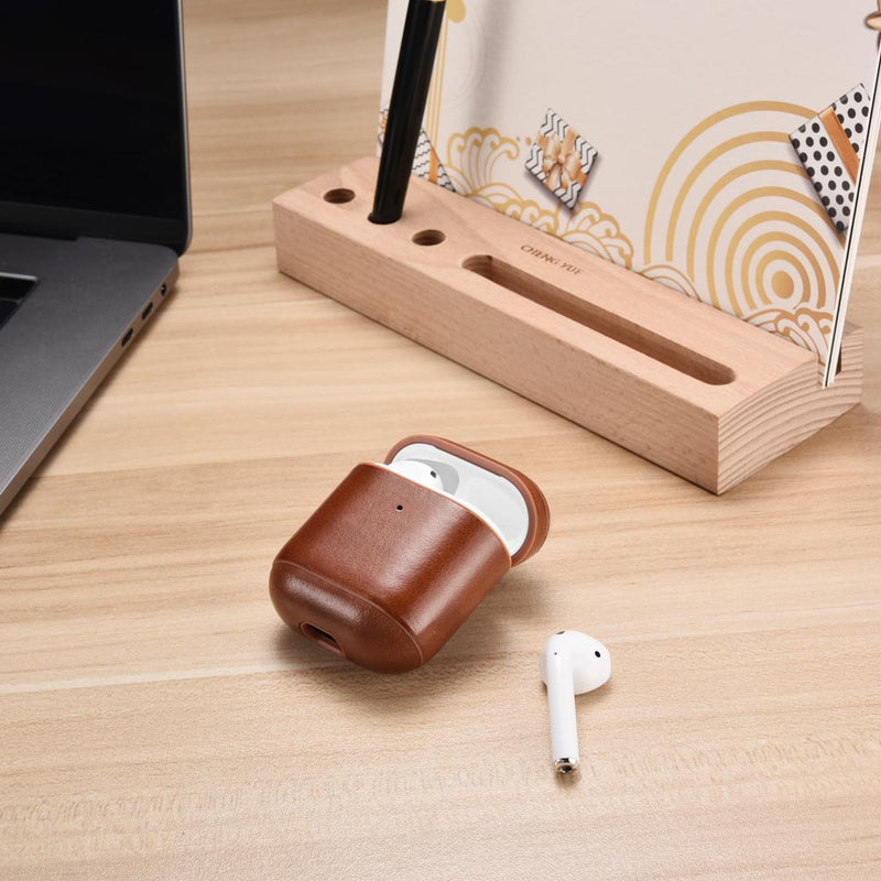 AirPods 2 (LED Visible) Personalized Custom Case Brown Genuine Leather with Keychain Color Embossing Personalization