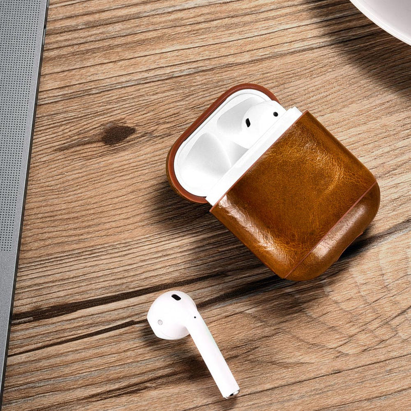 Luxury Light Brown Premium Leather AirPods 1 & 2 Case Hook Series