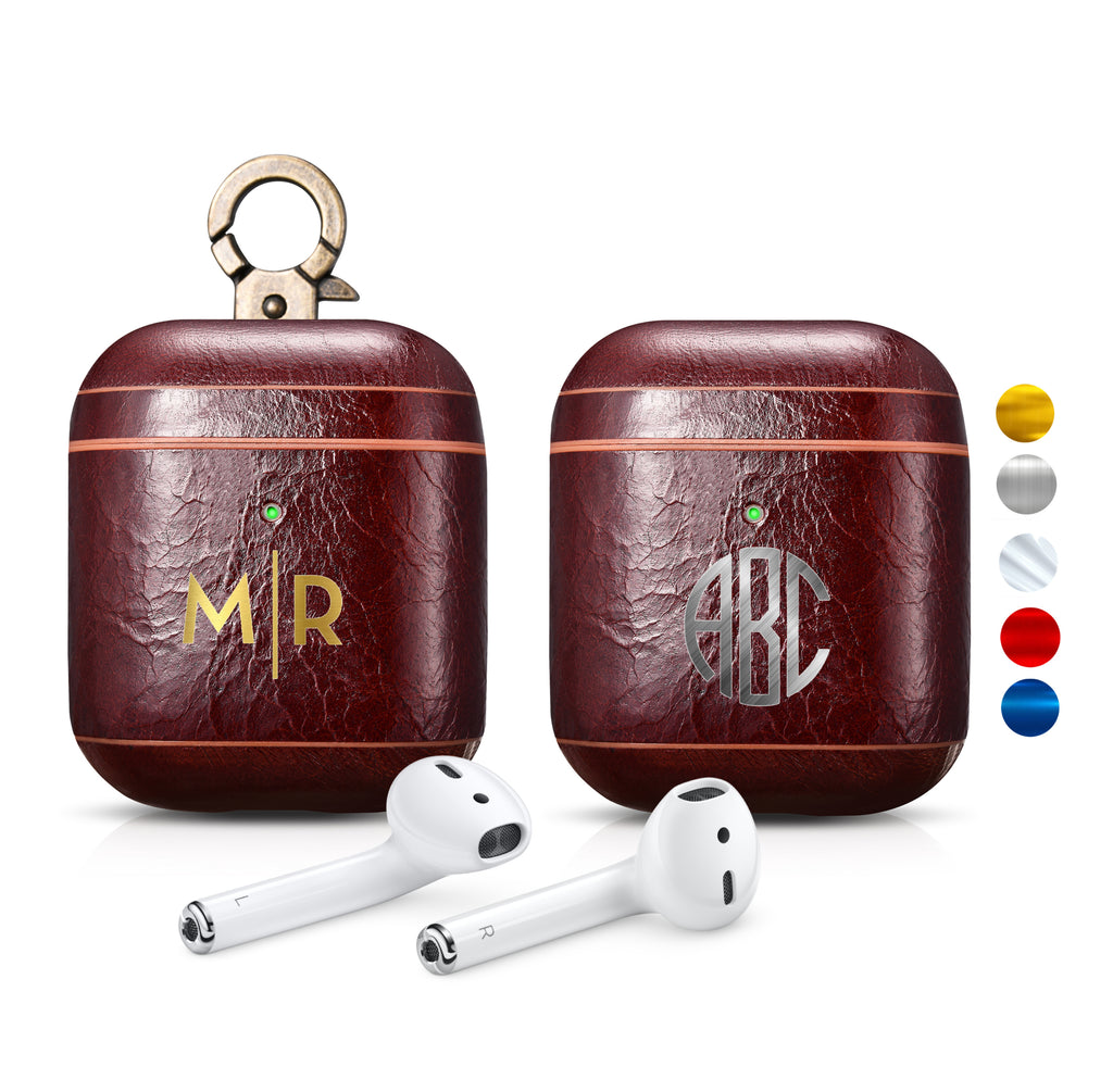 AirPods 2 (LED Visible) Personalized Custom Case Luxury Dark Brown Genuine Leather with Keychain Color Embossing Personalization