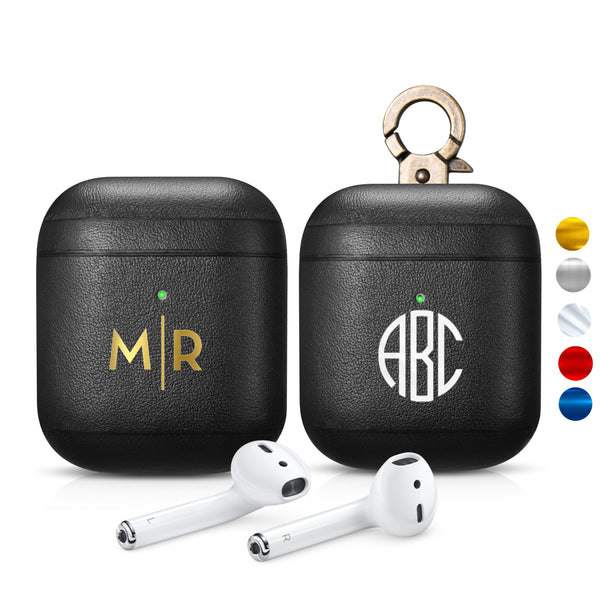 AirPods 2 (LED Visible) Personalized Custom Case Napa Black Genuine Leather with Keychain Color Embossing Personalization