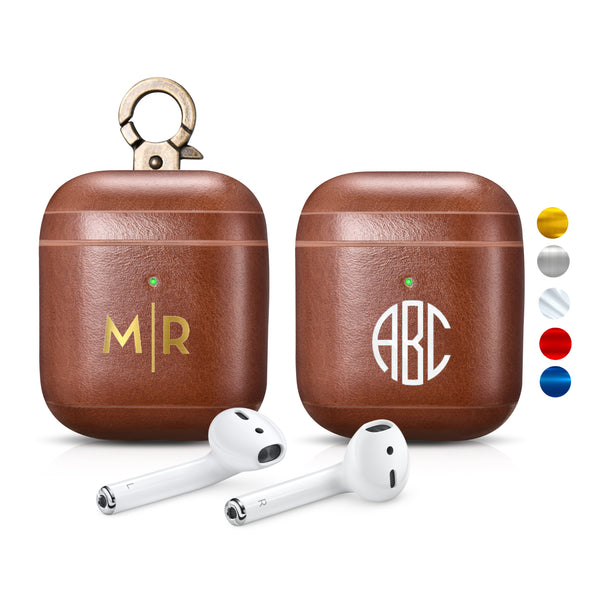 Custom AirPods 2 (LED) Brown Genuine Leather Case