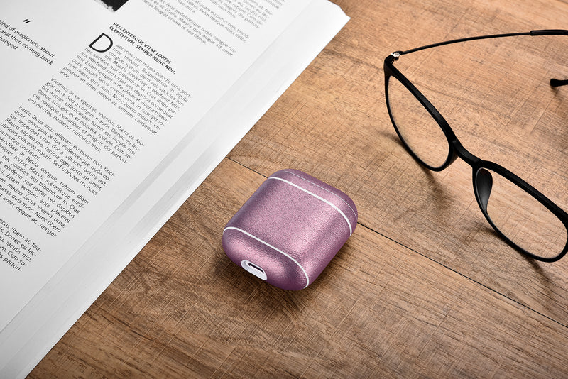 Purple Premium Leather Custom AirPods 1 & 2 Case with Metal Clip