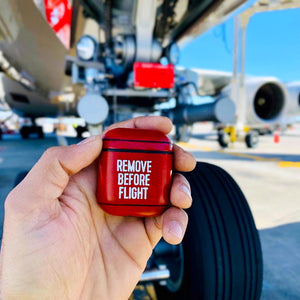 Iconic Red Remove Before Flight Aviation Leather Case for Apple AirPods 1 & 2  + Free Keychain Gift