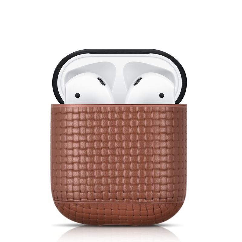 Woven Beautiful Genuine Leather Custom Apple AirPods Case 1 & 2 with Personalization