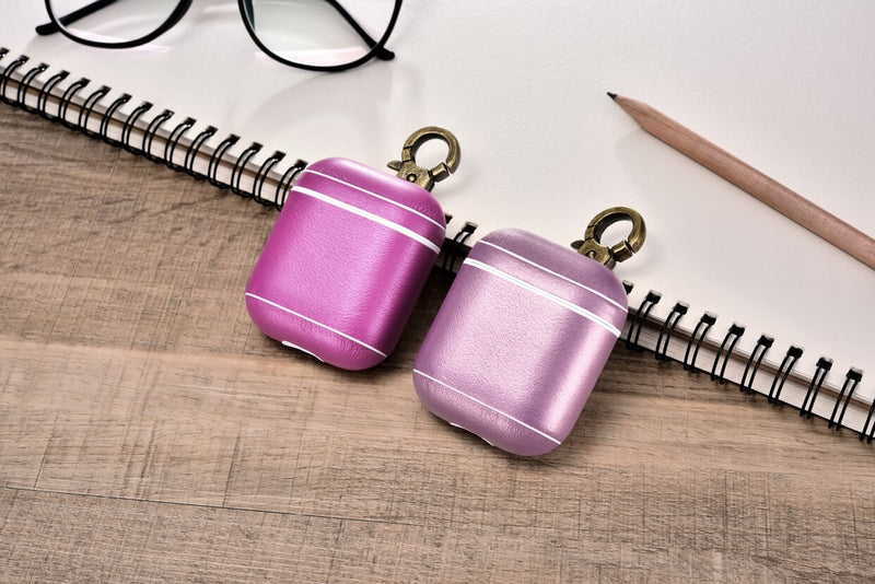 Pink Premium Leather Custom AirPods 1 & 2 Case with Metal Clip
