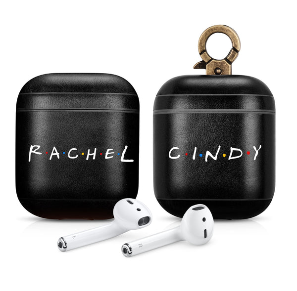 FRIENDS TV Show Custom Name Black AirPods 1 & 2 Case Personalized