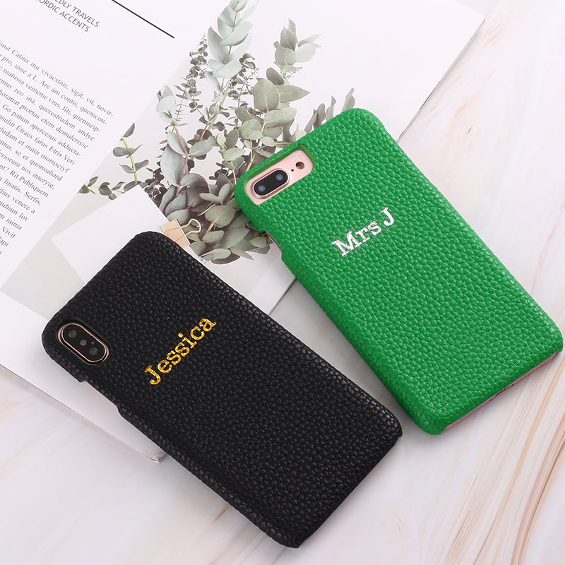 Personalized Color Embossed Pebble Leather Apple iPhone Case | iPhone 7 8 Plus X Xs XR Max 11 11 Pro