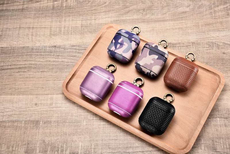 Woven Keychain Clip Beautiful Genuine Leather Custom Apple AirPods 1 & 2 Case with Personalization