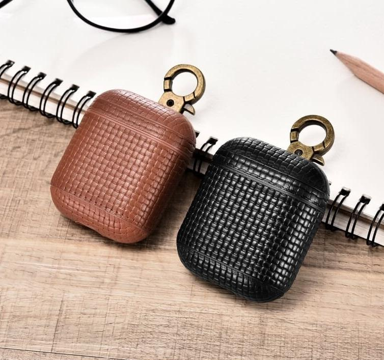 Woven HOOK Series Keychain Clip Beautiful Genuine Leather Custom Apple AirPods 1 & 2 Case with Personalization