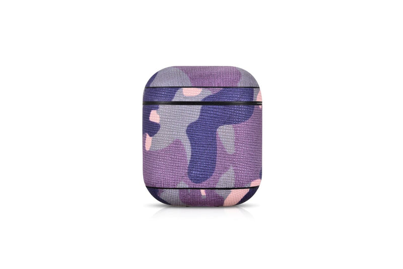 Camo Purple Premium Leather AirPods 1 & 2 Case Hook Series