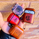 AirPods 1 & 2 Case Personalized Custom Leather Lavish Color Personalization Name Monogram Logo with Keychain Strap