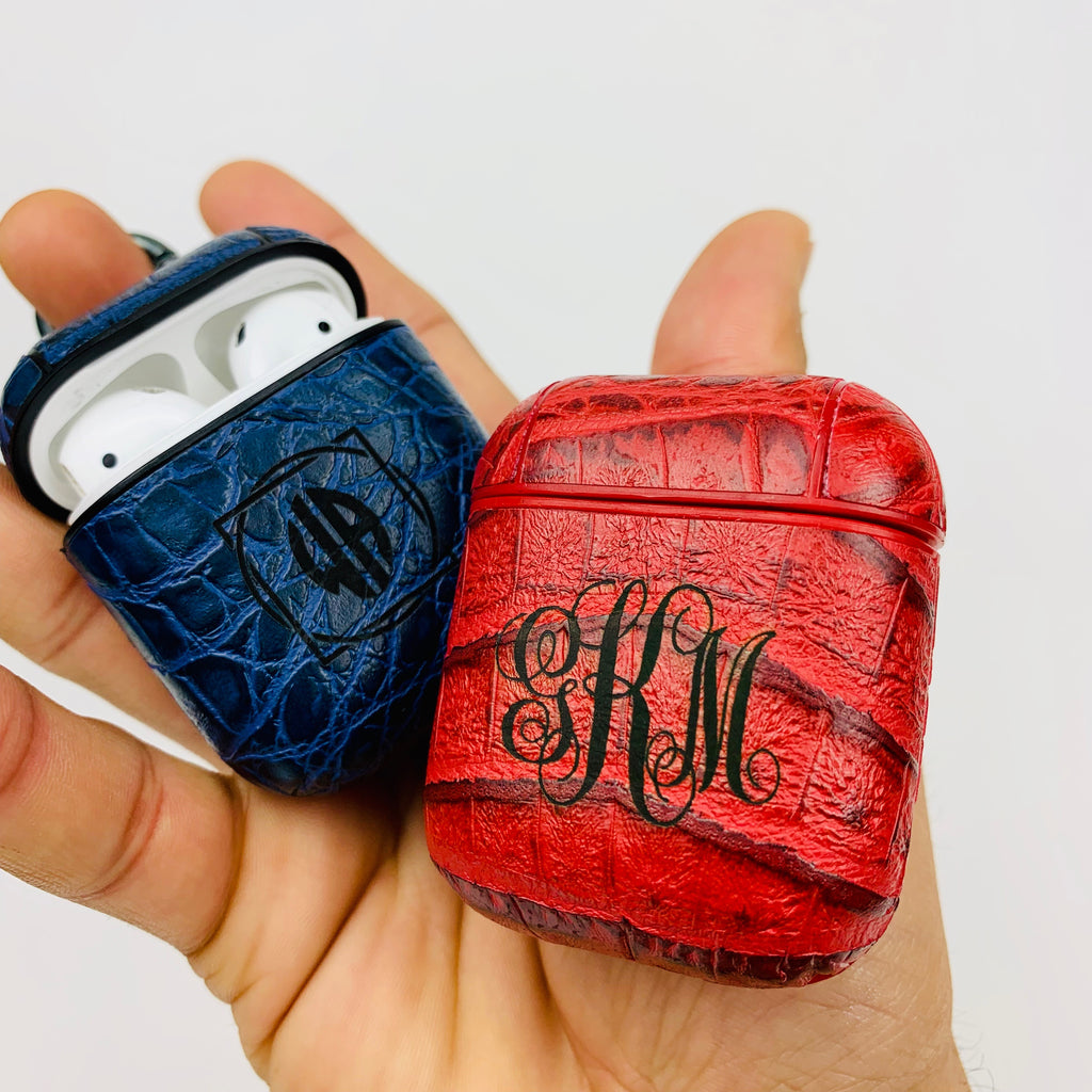 Personalized AirPods 1 & 2 Case Alligator Crocodile {with Keychain} Custom Engraving Monogram Gift