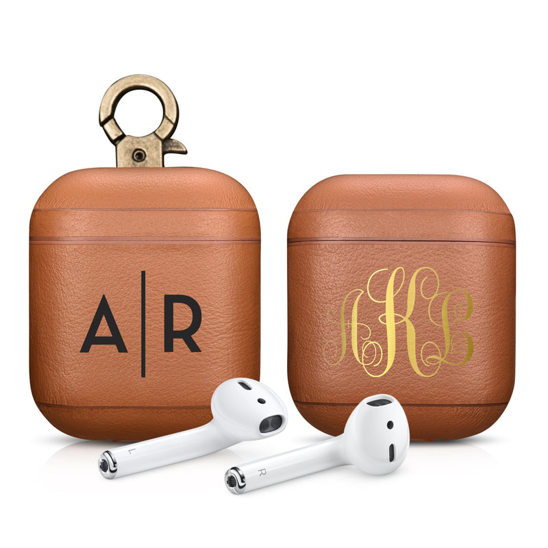 Napa Tan Premium Vegan Leather AirPods 1 & 2 Case | Custom Color Personalization Name Monogram Logo