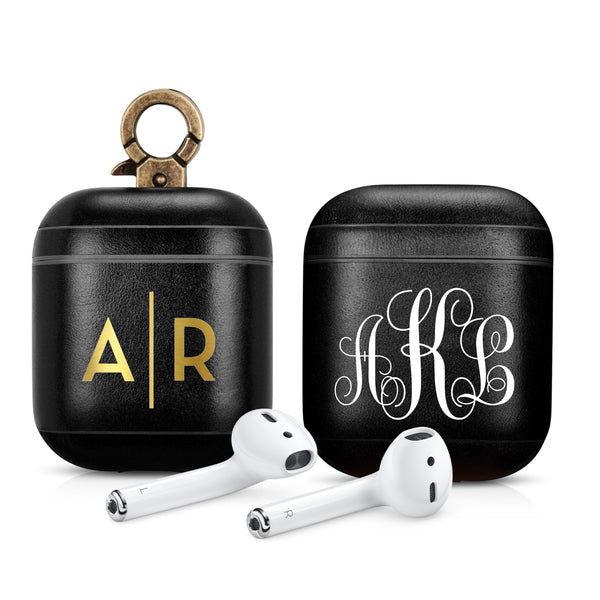 Vintage Black Premium Leather AirPods 1 & 2 Case Hook Series