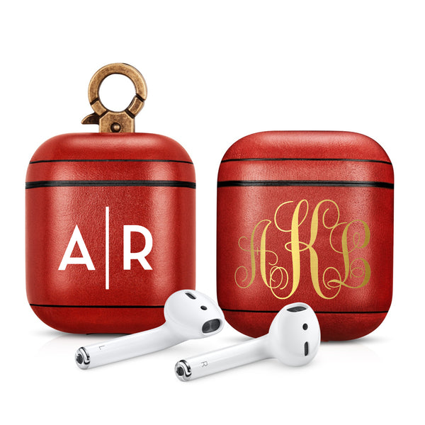 Vintage Red Premium Leather AirPods 1 & 2 Case Hook Series