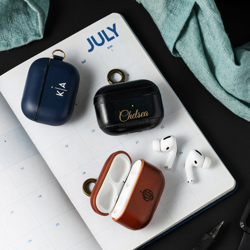 Custom AirPods Pro Leather Case with Side Keychain Strap