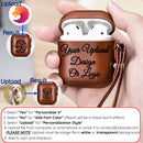 Custom AirPods 1 and 2 Case Black or Brown Leather with Keychain Strap Color Embossing Personalization