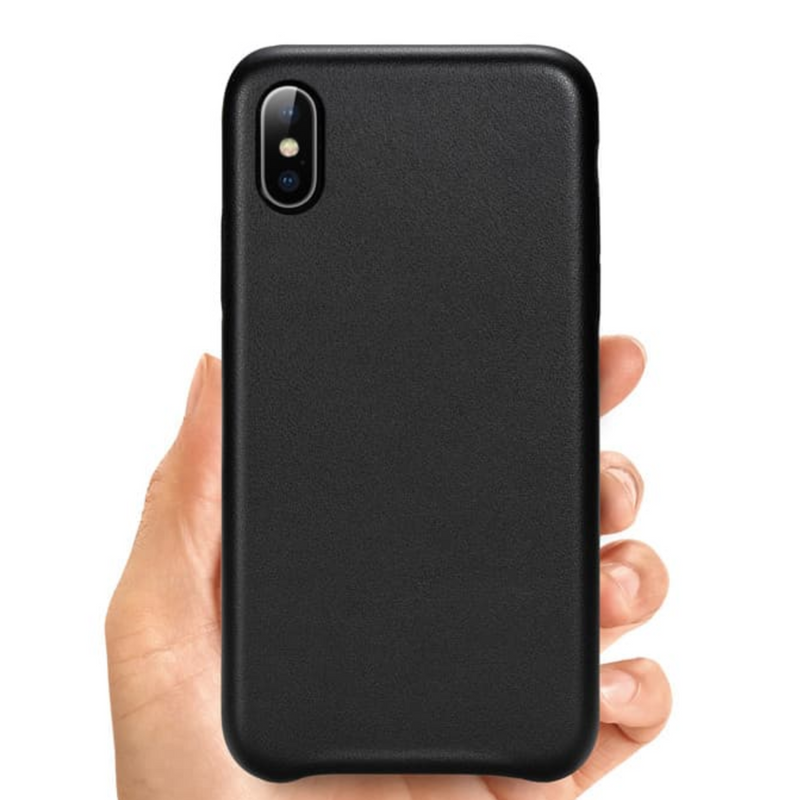Custom Leather iPhone Case Black Cowhide Personalized | iPhone X Xs XR Max 11 11 Pro Max