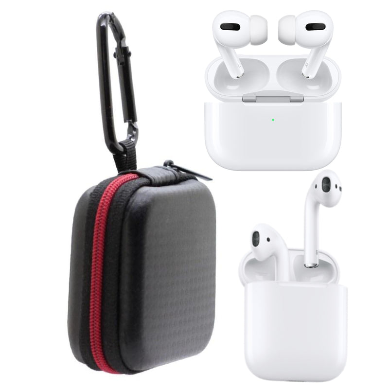 Apple AirPods 1,2, Pro Black Travel Case Hard Shell with Keychain Hook and Zipper