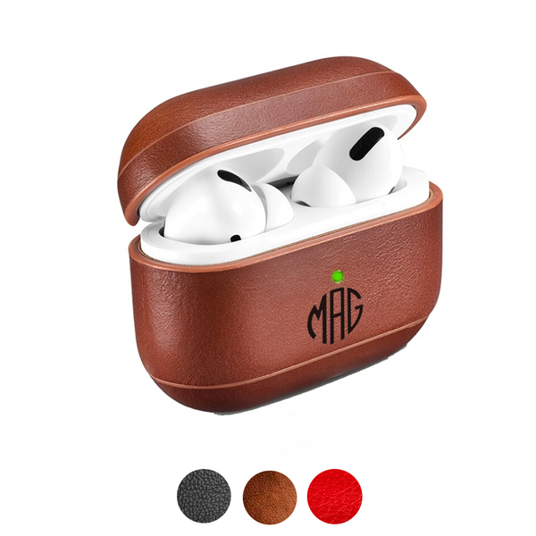 Custom AirPods Pro Vintage Cowhide Leather Case | Black Brown Red