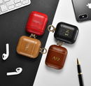 Personalized Color Embossed Leather Apple Airpods 1&2 Case + Metal Clip