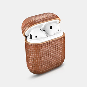 Woven Series New Beautiful Genuine Leather Custom Apple AirPods Case 1 & 2 with Personalization